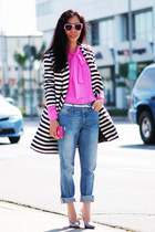 Sunny Sunday Wear: Pink Bow Tie Blouse + Black n White Striped Jacket
