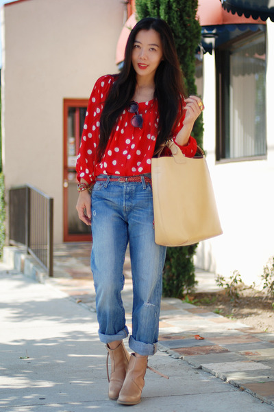 red polka dot H&M blouse - neutral acne boots - Levis jeans - neutral Zara bag