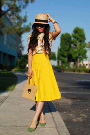 chartreuse Zara shoes - H&M hat - yellow vintage skirt - Zara top