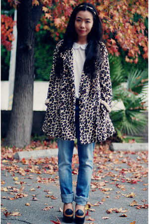 Carven wedges - thrifted coat - Jcrew jeans - Zara t-shirt