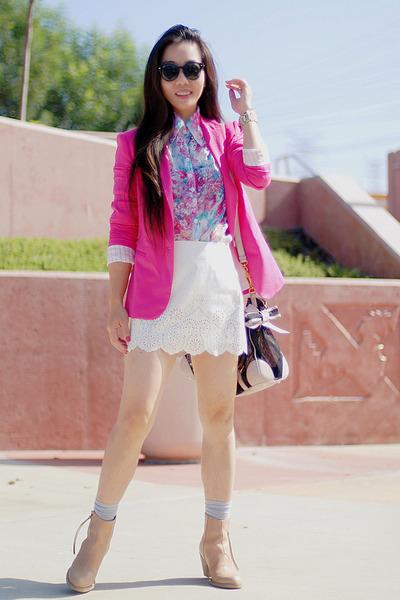 hot pink Zara blazer - nude acne boots - bubble gum Miu Miu bag - Target socks