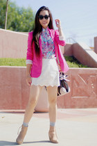 hot pink Zara blazer - nude acne boots - bubble gum Miu Miu bag - Target socks