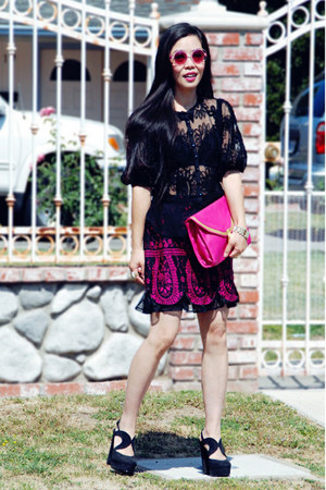 black lace Nanette Lepore blouse - hot pink asos bag