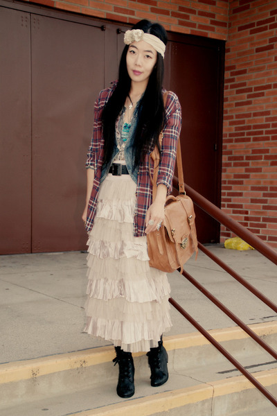Jeffrey Campbell boots - a&f shirt - asos bag - ruffles free people skirt - deni