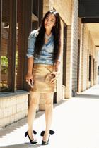 gold gold skirt - sky blue denim Zara shirt - Forever21 necklace