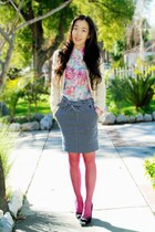 vintage skirt - cream Zara blazer - pink free people tights - vintage bag