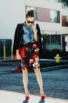 Oasis skirt - tweed Plastic Island jacket - house of harlow sunglasses