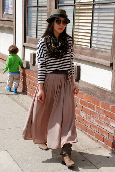 striped H&M t-shirt - Joie boots - Urban Outfitters hat - Zara scarf