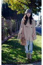 asos coat - Zara jeans - Topshop - Zara t-shirt - vintage hat - coconut boots