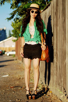 lace shorts - H&M hat - My hubbys Shirt shirt - Gucci bag