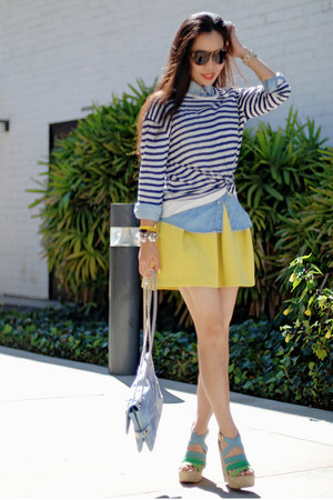light yellow asos skirt - sky blue denim Zara shirt