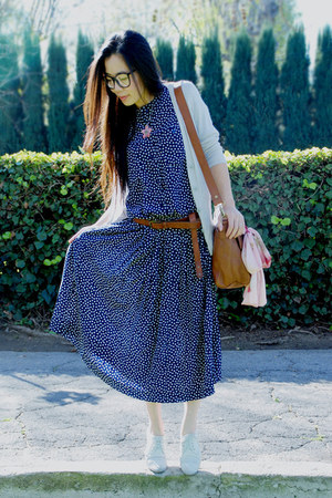 thrifted dress - warehouse bag - asos belt - oxford Dolce Vita flats - Jcrew car