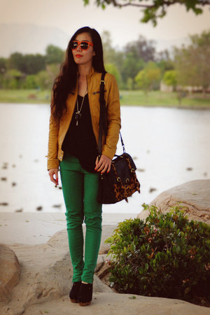 green Zara jeans - burnt orange leather Esprit jacket - leopard print asos bag -