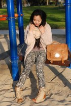 coconut boots - River Island sweater - H&M scarf - asos bag - animal print H&M p