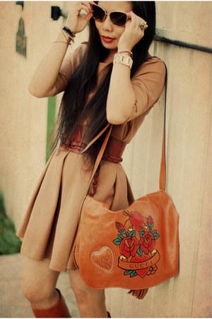 burnt orange Zara belt - carrot orange vintage boots - burnt orange Zara dress