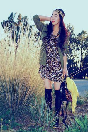 asos bag - Dolce Vita boots - animal print Zara dress - parka H&M jacket