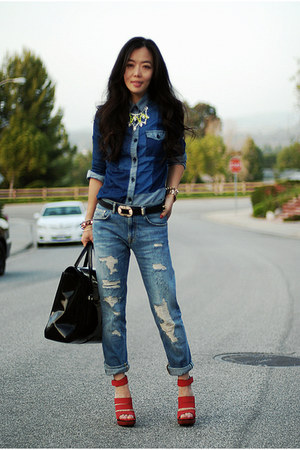 Zara jeans - asos shirt - 31 Phillip Lim bag - balenciaga sandals