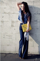 H&M top - wide legs H&M jeans - yellow clutch asos bag - golden D&G watch