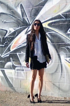 black Carven heels - black Plastic Island jacket - clutch Zara bag