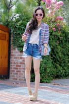 sky blue vintage sweater - sky blue Be & D bag - sky blue Levis shorts - eggshel