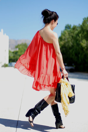 black ASH sandals - carrot orange asos dress - carlos falchi bag