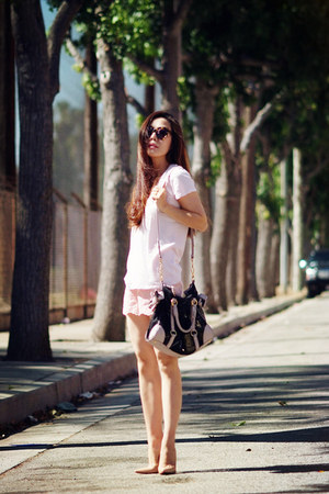 Miu Miu bag - Christian Louboutin bag - James Perse t-shirt