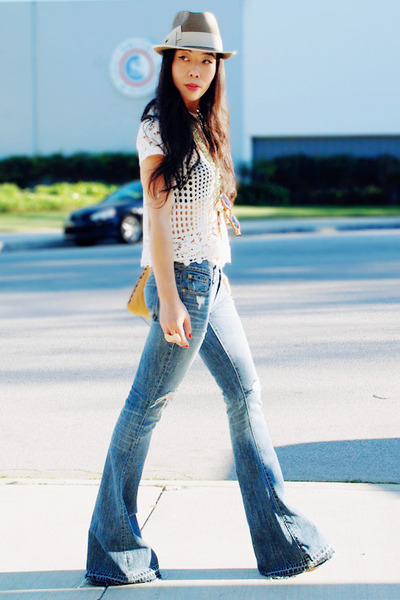 Work Custom Jeans jeans - vintage hat - bow H&M ring - crochet H&M top - do you