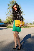 Miu Miu heels - yellow Zara bag - H&M sunglasses - polka dot vintage blouse