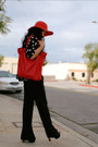 Red-floppy-urban-outfitters-hat-red-zara-bag-jessica-simpson-heels-polka-d