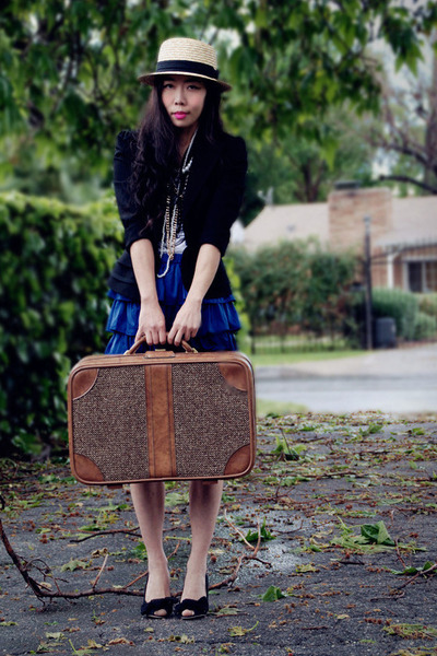 H&M hat - Bebe blazer - suitcase thrifted bag - Target Kids skirt - DIY wedges -