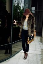 lace up Zara boots - faux fur asos coat - clutch asos bag - Zara pants