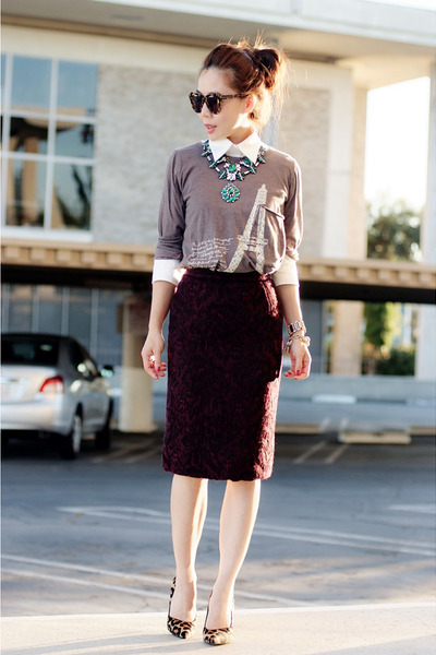 printed vintage skirt - Zara necklace