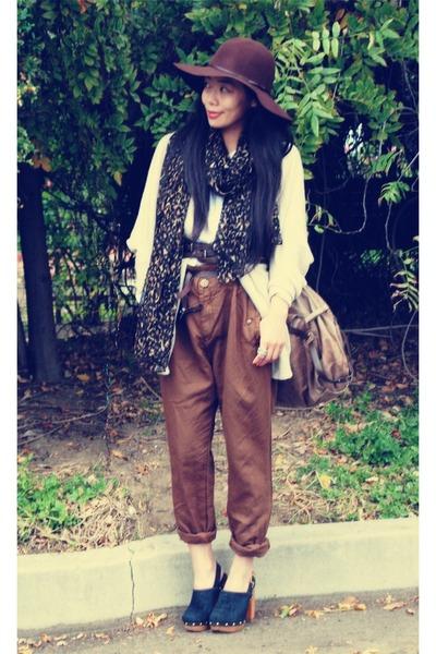 Zara pants - Zara scarf - tory burch clogs - Victorias Secret sweater - botkier