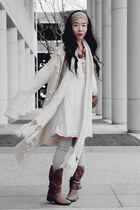 Joie boots - Zara dress - oversized sweater - vintage accessories