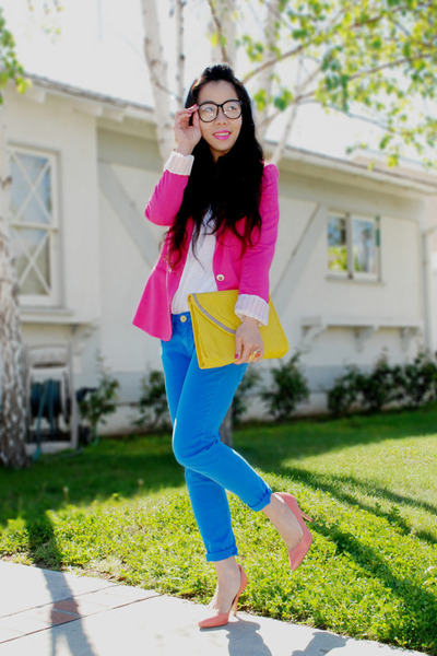 hot pink Zara blazer - blue skinny Zara jeans - yellow asos bag