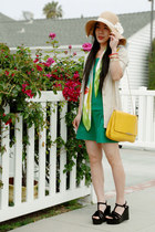 forest green Zara dress - Forever21 hat - beige H&M blazer - yellow Zara bag