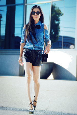 TheySkens Theory wedges - sky blue denim Forever21 shirt