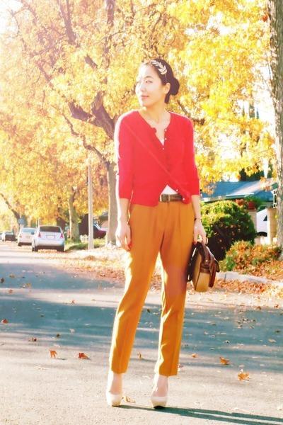 Charlie Davids shoes - red vintage sweater - thrifted vintage bag