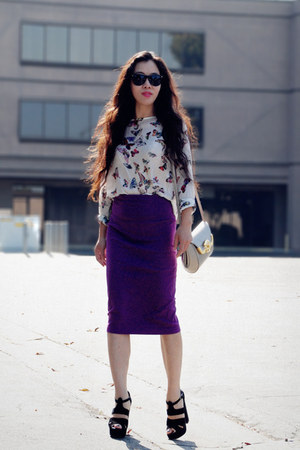 butterfly Zara top - magenta vintage skirt - Aldo heels