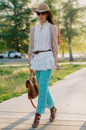 peach lace Forever21 cardigan - aquamarine lace thrifted pants