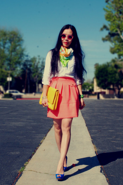 vintage scarf - Zara bag - Juice Couture sunglasses - H&M skirt - Zara heels - Z
