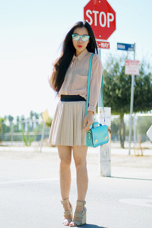 nude Alexander Wang wedges - aquamarine romwe bag - eggshell Zara skirt