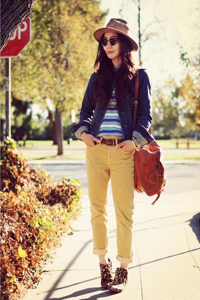 leopard sam edelman boots - Gucci bag - bronze Gap pants