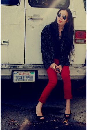 thrifted vintage jacket - River Island pants - Dolce Vita shoes - sunglasses - r