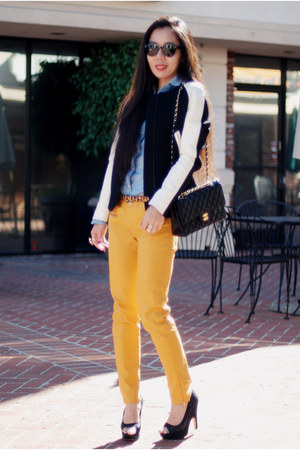 black Zara jacket - orange Zara jeans