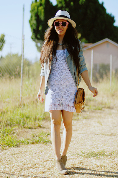white crochet Zara dress - tan DV by dolce vita boots