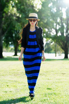 blue striped asos dress - H&M hat - black H&M blazer - H&M sunglasses - Aldo hee