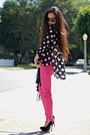 Polka-dot-minkpink-blouse-zara-jeans-clutch-alexander-wang-bag