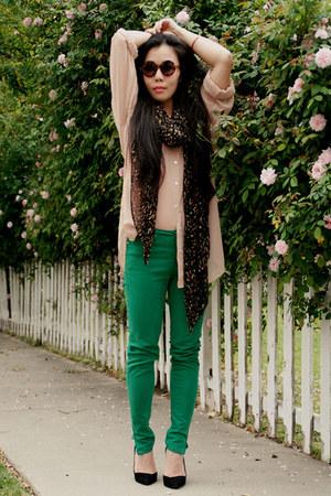 nude sheer American Apparel shirt - green skinny Zara jeans
