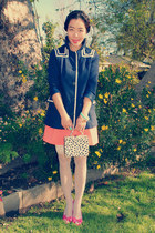 H&M jacket - thrifted bag - H&M skirt - pink Celine heels - H&M bracelet